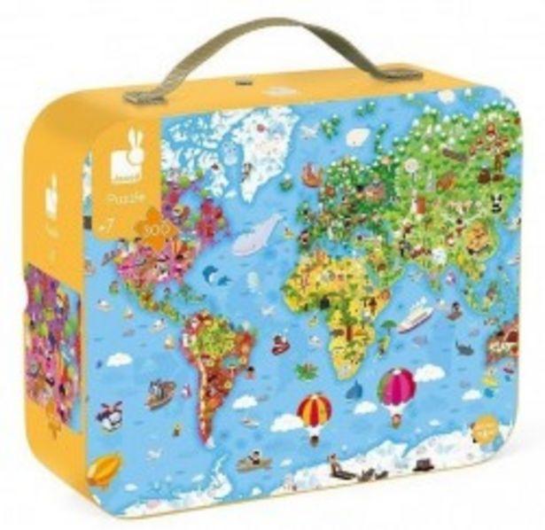 Janod Puzzle w walizce dwustronne okrągłe Ogromna mapa świata 300 el. za 105 zł
