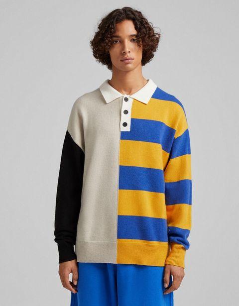 Sweter polo w pasy i bloki kolorów za 139 zł