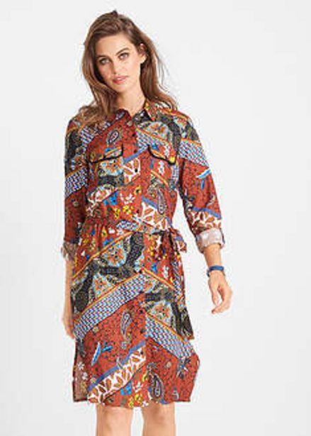Sukienka szmizjerka z nadrukiem, długi rękaw za 54,99 zł