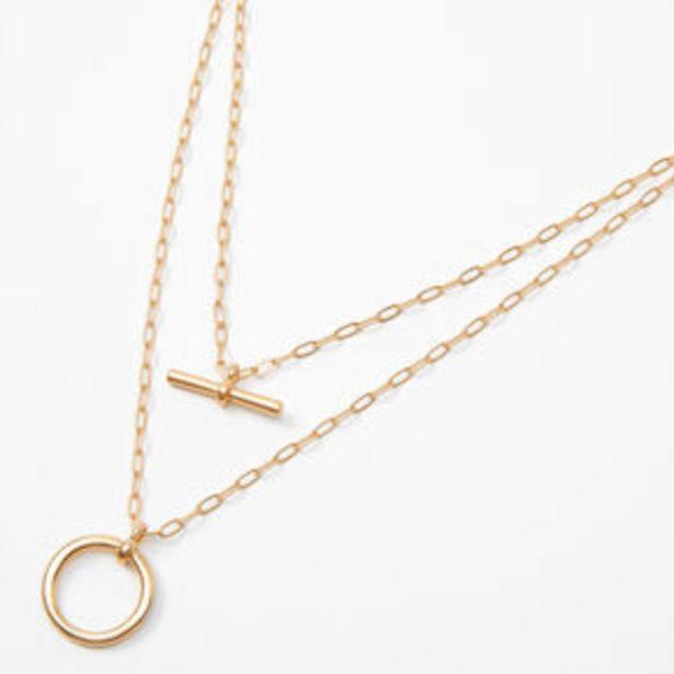 Gold Bar Circle Chain Multi Strand Necklace za 4 zł
